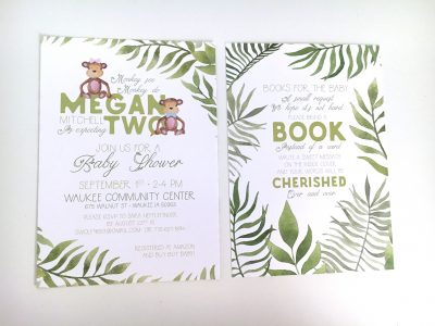 Jungle Safari Baby Shower Invitation - Front & Back Side By Side