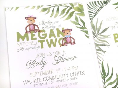 Jungle Safari Baby Shower Invitation - Front Close Up