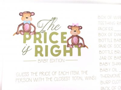 Jungle Baby Shower Game Cards Price Is Right Card Close Up