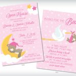 Sweet Dreams Teddy Baby Shower Invitations Pink