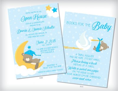 Sweet Dreams Teddy Baby Shower Invitations Blue