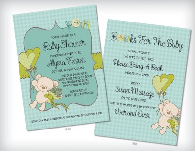 Teddy Bear Baby Shower Invitation Green