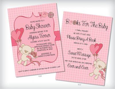Teddy Bear Baby Shower Invitation Pink