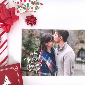 Reindeer Overlay Christmas Card - Horizontal