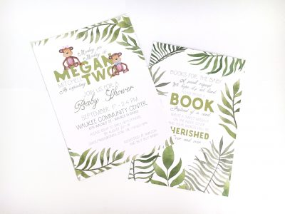 Jungle Safari Baby Shower Invitation With Monkies