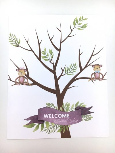 Jungle Baby Shower Fingerprint Guestbook No Fingerprints