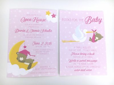 Sweet Dreams Teddy Baby Shower Invitations Side By Side