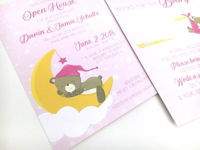 Sweet Dreams Teddy Baby Shower Invitations Close Up