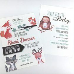 Woodland Animals Baby Shower Invitation Angled