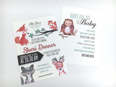 Woodland Animals Baby Shower Invitation Angled