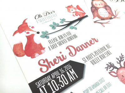 Woodland Animals Baby Shower Invitation Close Front