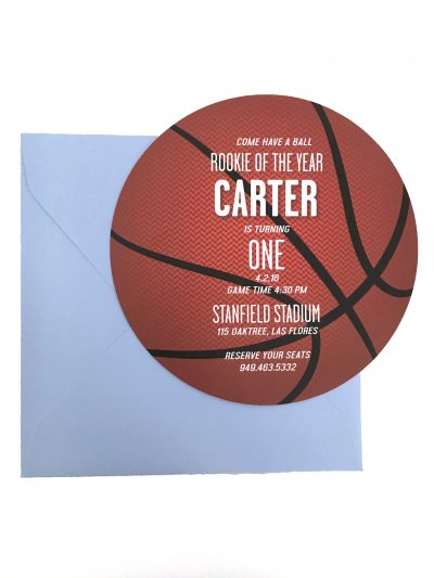 Round Basketball Birthday Party Invitation