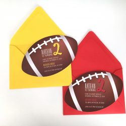 Football Shaped Party Invitation Yellow Red Envelopes