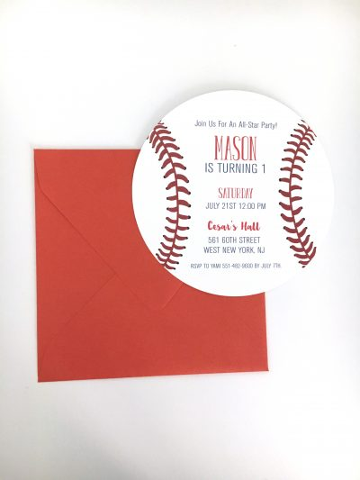 Round Baseball Birthday Party Invitation
