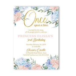Fairy Tale Flowers Birthday Invitation Girl