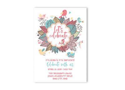 Floral Bright Birthday Party Invitation Teenage Girl