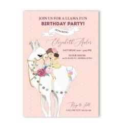 Llama Fun Girl Birthday Party Invitation