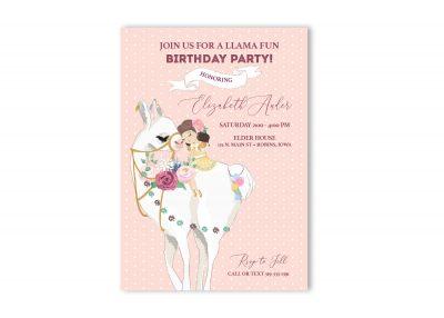 Llama Fun Girl Birthday Invitation