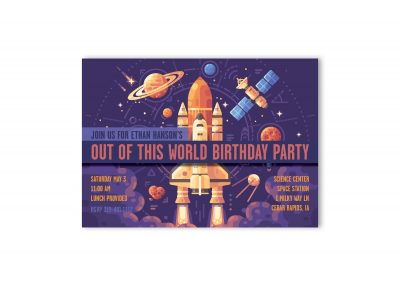 Space Out Of This World Birthday Party Invitation