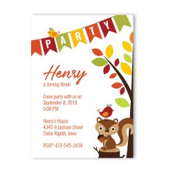 Squirrel Woodland Birthday Party Invitation