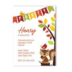 Squirrel Woodland Birthday Party Invitation