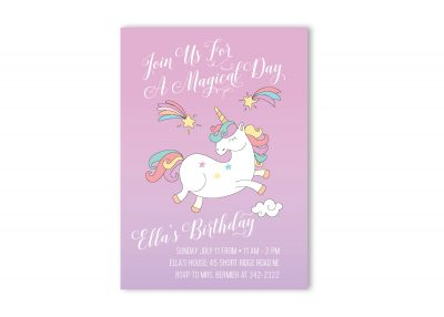 Unicorn Birthday Party Invitation Magical Girl