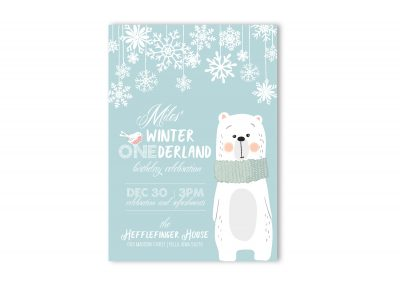 Winter Onederland Birthday Party Invitation