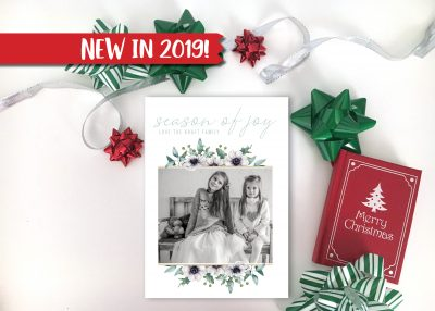 Holiday Florals & Greenery Christmas Card Vertical