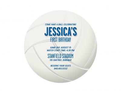 Volleyball Birthday Party Invitations