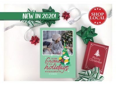 Staying Gnome For The Holidays Holiday Card Vertical