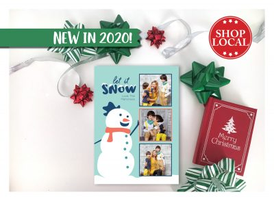 Let It Snow Snowman Holiday Card Vertical
