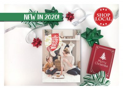 Golden Fireplace With Christmas Stocking Holiday Card