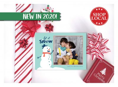 Let It Snow Snowman Holiday Card