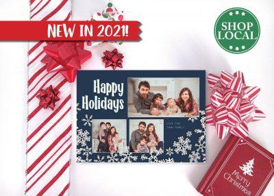 Navy Blue Blast of Snow Holiday Card - Horizontal