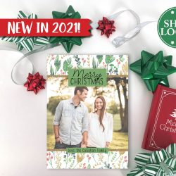 Winter Holly & Gold Holiday Card - Vertical