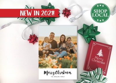 Simple White Photo Holiday Card Vertical