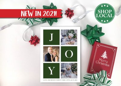 JOY Boxes Holiday Card - Green - Vertical