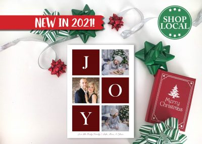 JOY Boxes Holiday Card - Red - Vertical