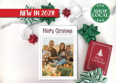 Decorative Simple Holiday Card - Burgundy - Vertical