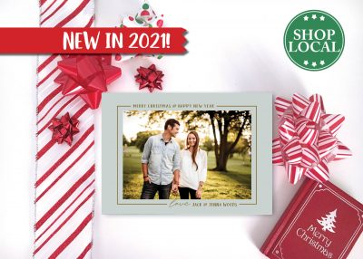 Mint & Gold Holiday Card with Photo