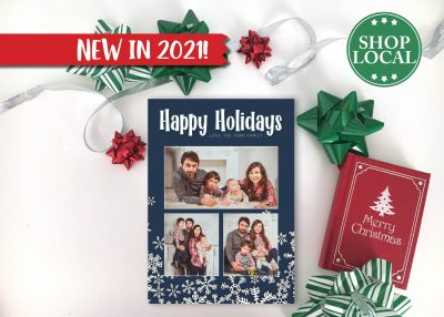 Navy Blue Blast of Snow Holiday Card - Vertical