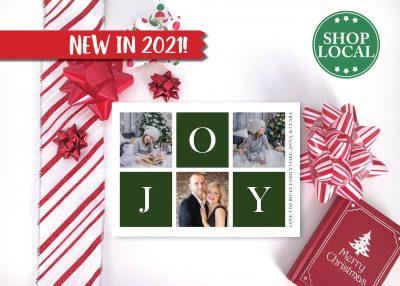 JOY Boxes Holiday Card - Green - Horizontal