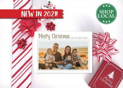 Decorative Simple Holiday Card - White - Horizontal