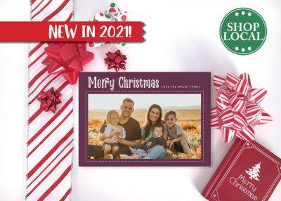 Decorative Simple Holiday Card - Burgundy - Horizontal